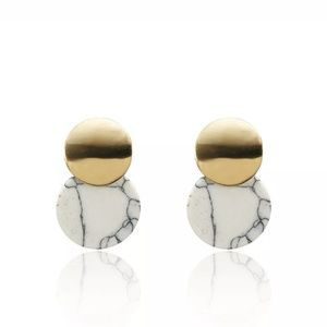 Gold & Marble Earrings